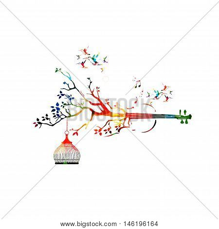 Creative music style template vector illustration, colorful violoncello,
