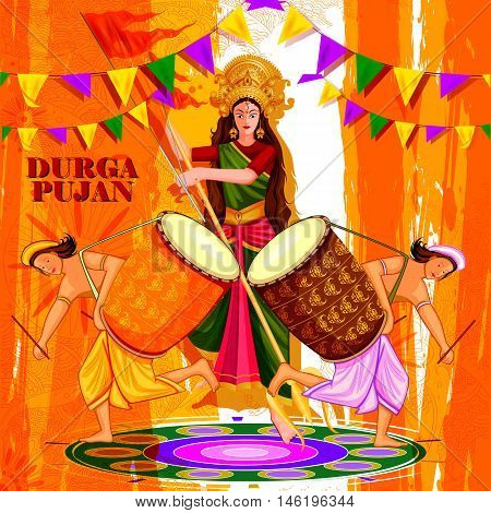 easy to edit vector illustration of drummer with dhak for Happy Durga Puja India festival holiday background
