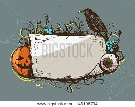 Halloween decorative frame with pumpkin and black raven. Vector illistration