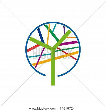 Sign colorful tree forestry companies, illustration on white background