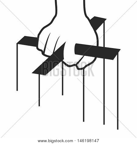 Vector Monochrome Conceptual Cartoon Hand of Marionette Puppeteer isolated on white background