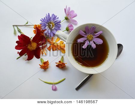 Cup of tea with different bright colors