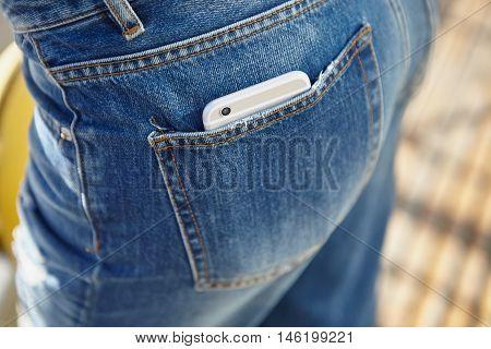 Modern Big Silver Smart Phone In Jeans Pocket