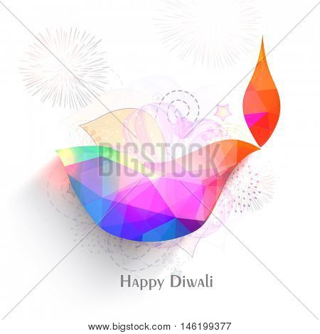 Colorful oil lit lamp for Indian festival of Lights, Happy Diwali concept.