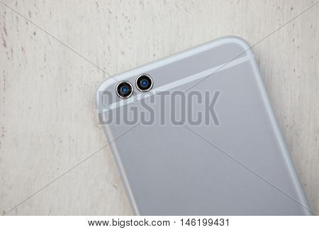 Modern Big Silver Smart Phone With Dual Rear Camera