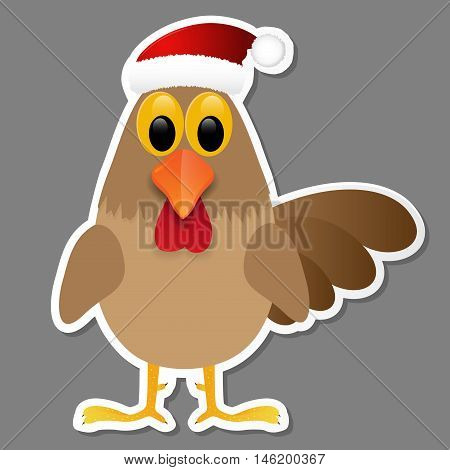 Rooster in Santa hat isolated on grey background. Vector illustration.