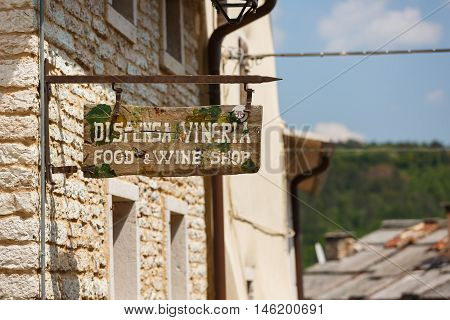 Molina Italy - May 07 2016: The pointer to the wine store in the small Italian town of Molina