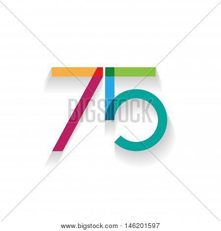 number 75 in flat design, illustration on white background