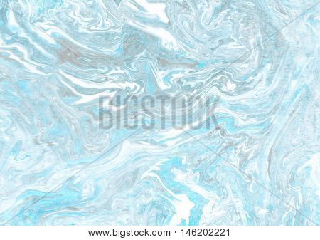 Hand made marble suminagashi blue grya abstract background texture