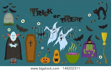 Vector set of characters and icons for Halloween in cartoon style. All Saints Day design elements.