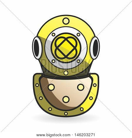 Vector Vintage Old Fashion Scuba Metal Diving Helmet Design isolated on white background