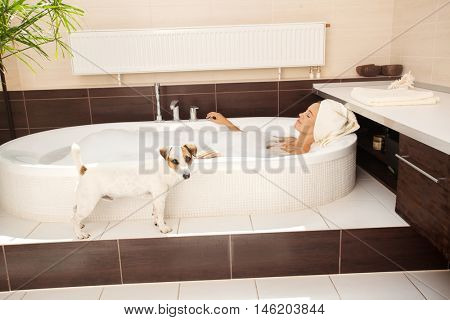 faithful dog beside the woman in the bathroom. Female in bathtub with pet