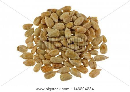 Roasted salted Sunflower seed with salt isolated on white background.