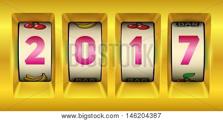 Happy New Year 2017 banner. Gold slot machine illustration. Eps10 vector.
