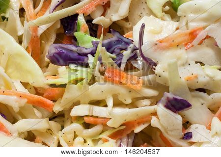 creamy coleslaw salad purple and green cabbage, carrot shredded mixed with coleslaw dressing closeup