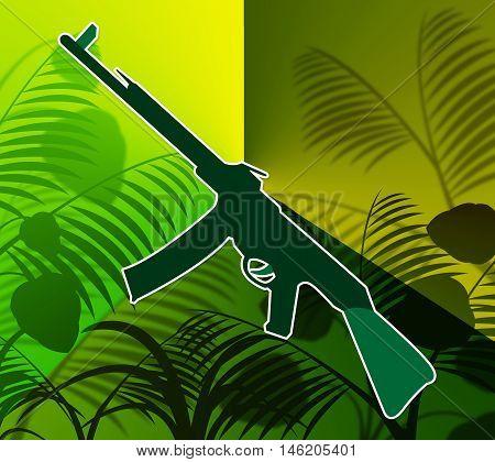 Machine Gun In The Jungle Shows Warfare And Battle