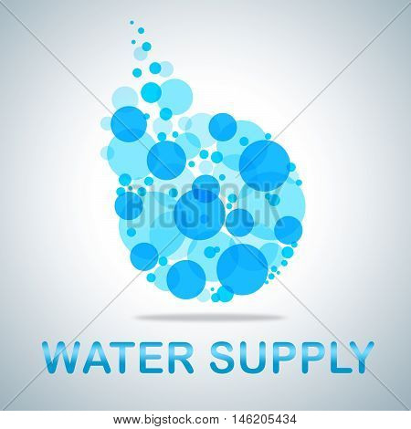 Water Supply Icon Represents Getting Clean H2O