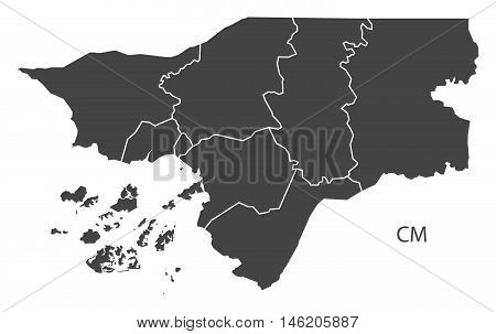Guinea-Bissau grey map with regions isolated vector high res