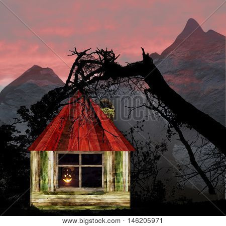 Halloween landscape with wooden house, mountains and silhouettes of trees. Dark scary landscape with red dramatic sky, glowing pumpkin and grunge cabin