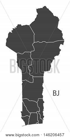 Benin grey map with regions isolated vector high res