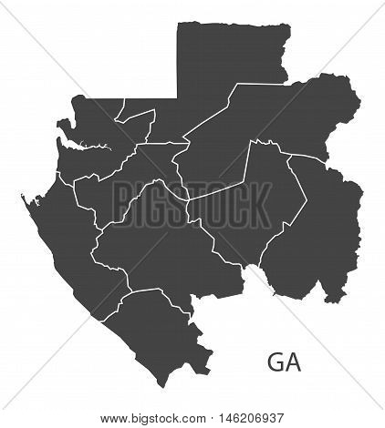 Gabon grey map with regions isolated vector high res