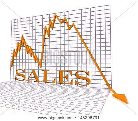 Sales Graph Negative Means Selling Downturn 3D Rendering