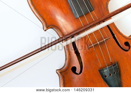 Close-up of a violin with a bow