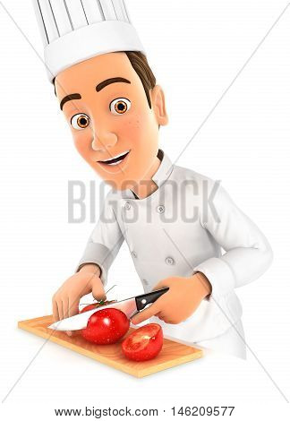 3d head chef cutting a tomato illustration with isolated white background