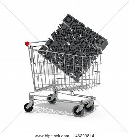 Shopping Cart With Big Qr Code Inside