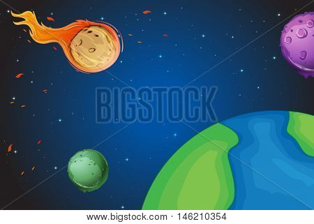 Space scene with comet over the earth illustration