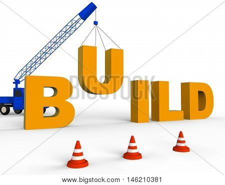 Build Word Indicates House Contractor 3D Rendering