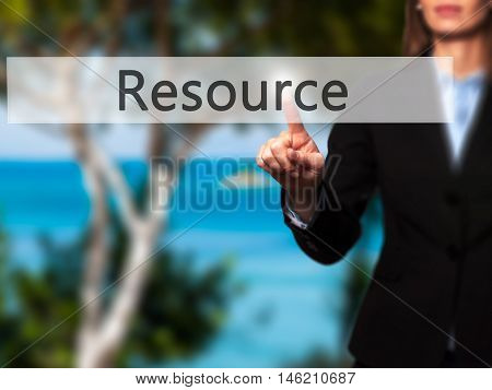 Resource - Isolated Female Hand Touching Or Pointing To Button
