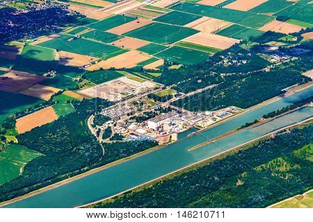 Fessenheim Nuclear Power Plant seen from above - Alsace, France