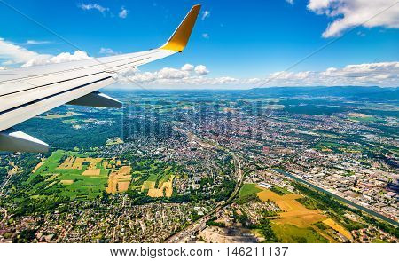 View of Mulhouse from an airplane - Haut-Rhin, France