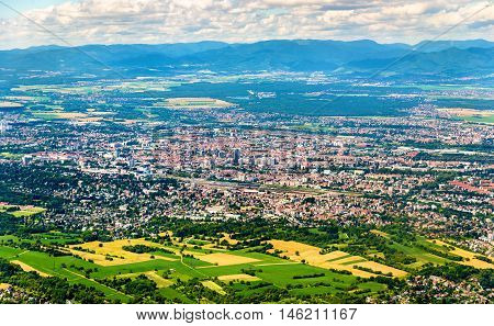Aerial view of Mulhouse - Haut-Rhin, Alsace, France