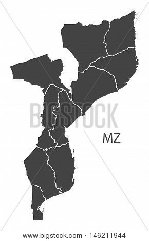 Mozambique grey map with regions isolated vector high res