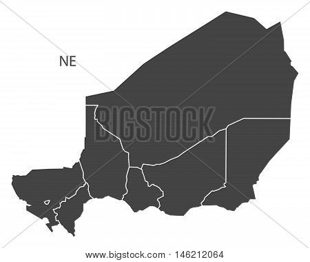 Niger grey map with regions isolated vector high res
