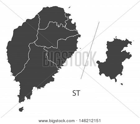 Sao Tome and Principe Island grey map with regions isolated vector high res