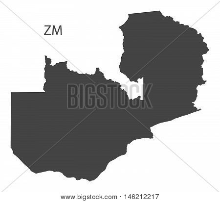 Zambia grey map isolated vector high res
