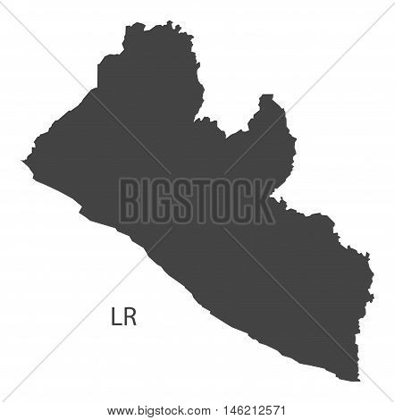 Liberia grey map isolated vector high res