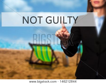 Not Guilty - Isolated Female Hand Touching Or Pointing To Button