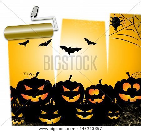 Halloween Pumpkins Means Trick Or Treat And Ghost