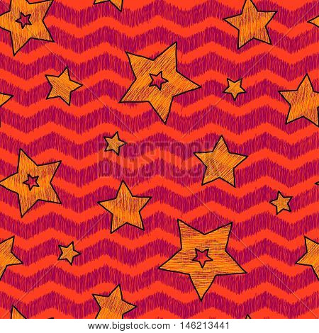 Stars and zigzag seamless pattern for wraping paper backgrouns and textile warm holiday colors