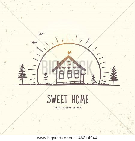 Beautiful doodle sketch with house at dawn. Hand drawn sketch. Stylish vector illustration