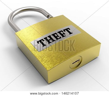Theft Padlock Represents Safeguard And Stealing 3D Rendering