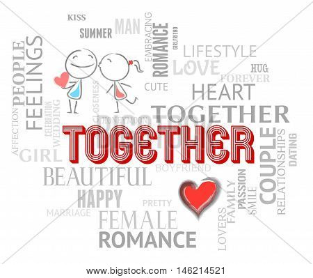 Together Couple Means Find Love And Affection