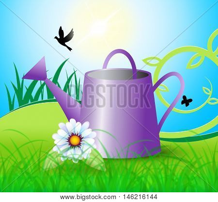 Watering Can Indicates Horticulture Flowers And Gardening