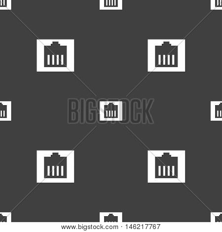 Internet Cable, Rj-45 Icon Sign. Seamless Pattern On A Gray Background. Vector