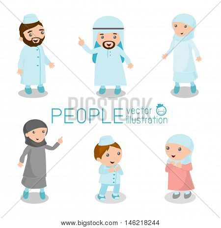 Set of arab people standing deportment various. isolated on white background. arabian kids, Happy Arabic family members