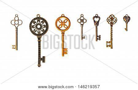 Set of decorative seven keys. Isolated on white.
